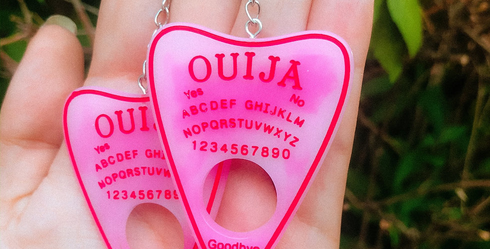 pink shadow ouija planchette earrings