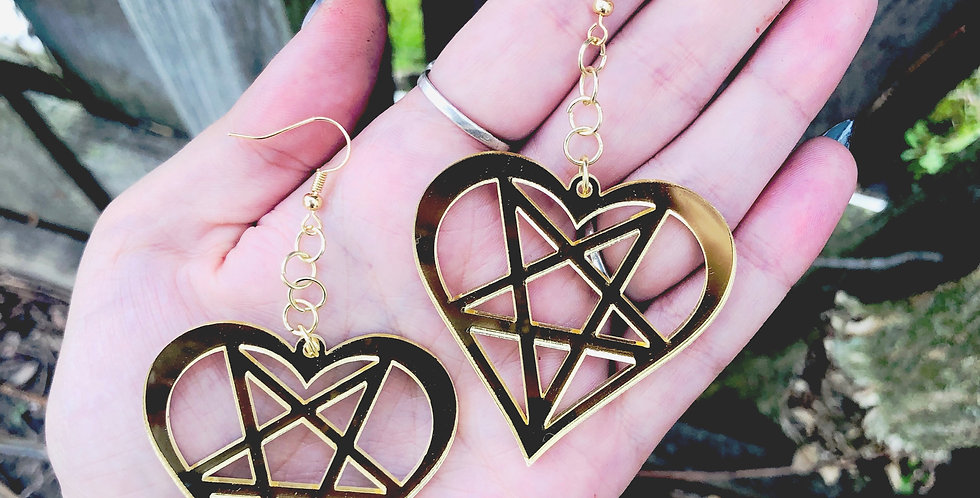 Gold Mirror Witchy Heart Earrings