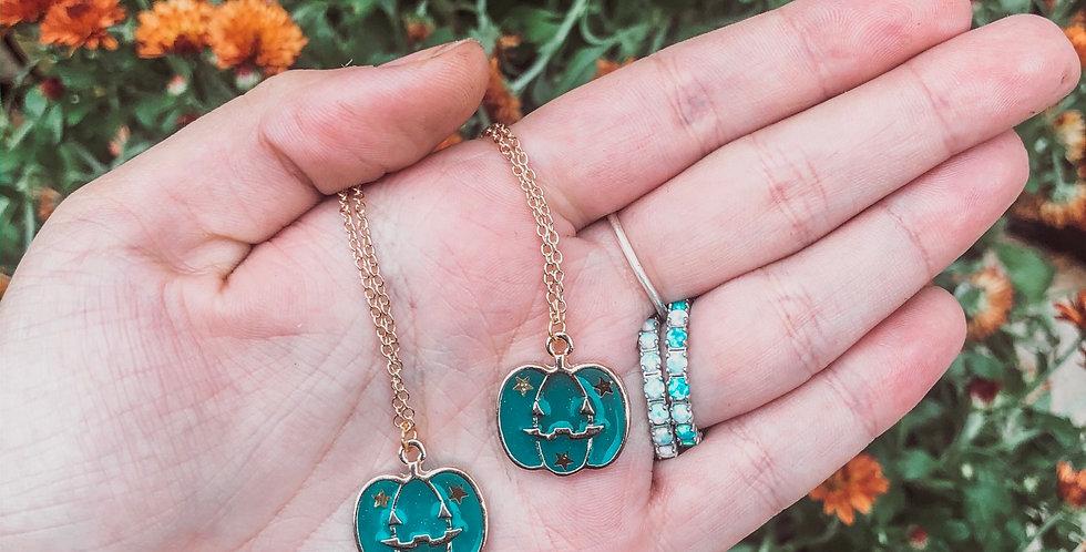 teal glitter pumpkin necklace