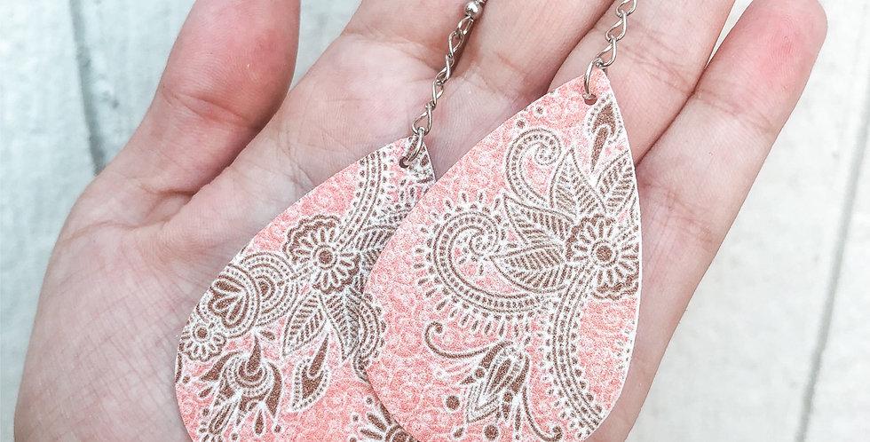 boho paisley faux leather earrings