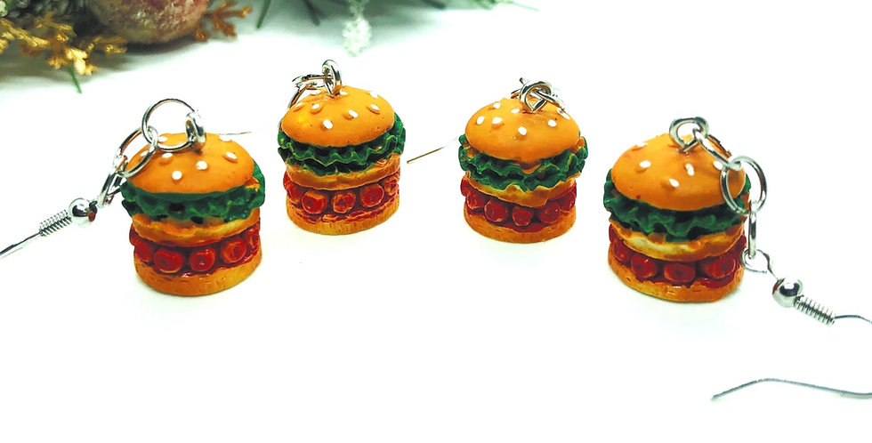 funky burger earrings