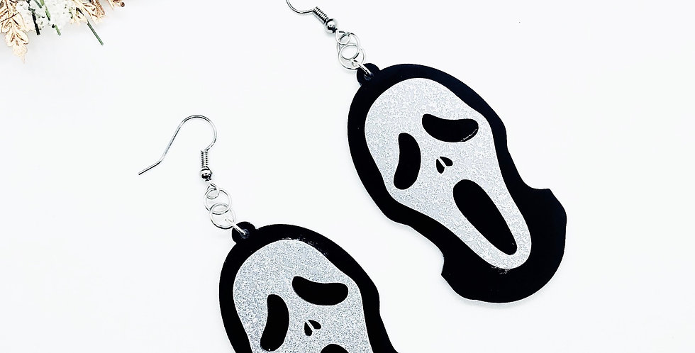 glitter ghost face earrings