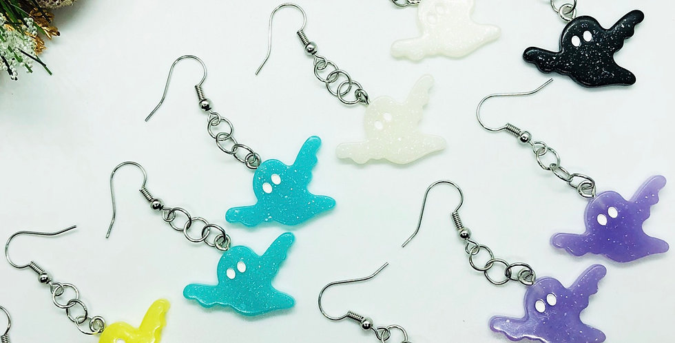 glitter ghost earrings