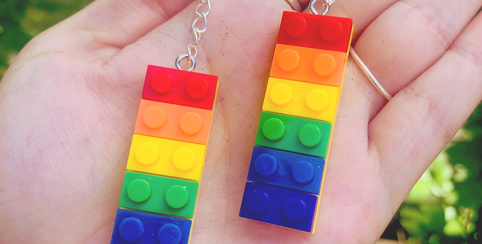 Rainbow Lego Brick Earrings