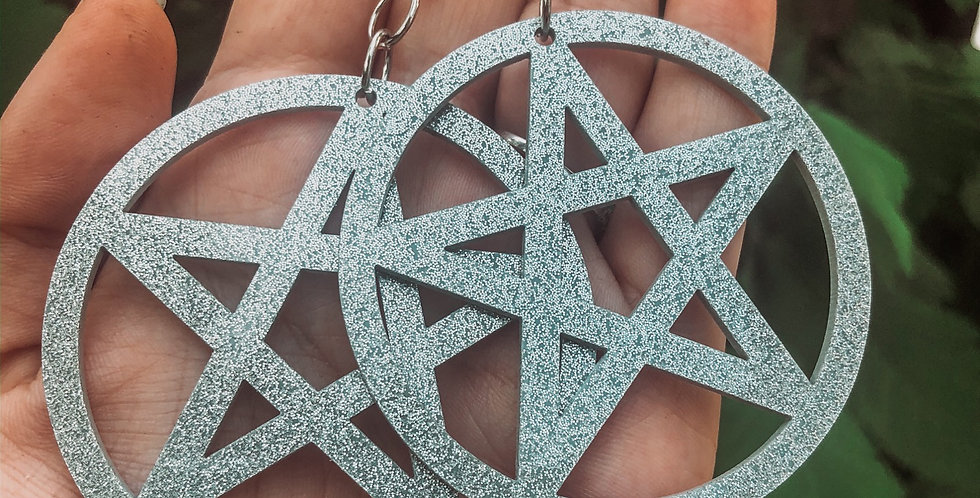 """silver glitter """"its witching hour"""" earrings"""