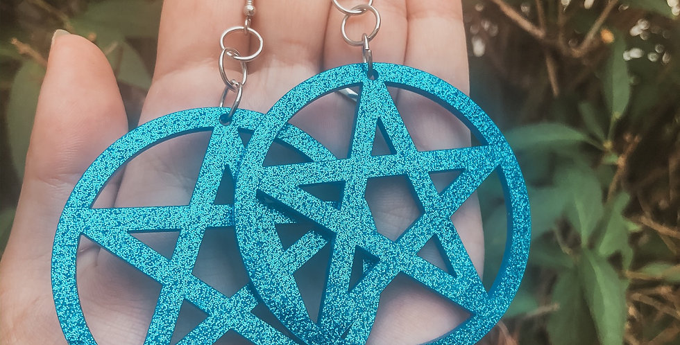 """Blue Glitter """"it's witching hour"""" Earrings"""
