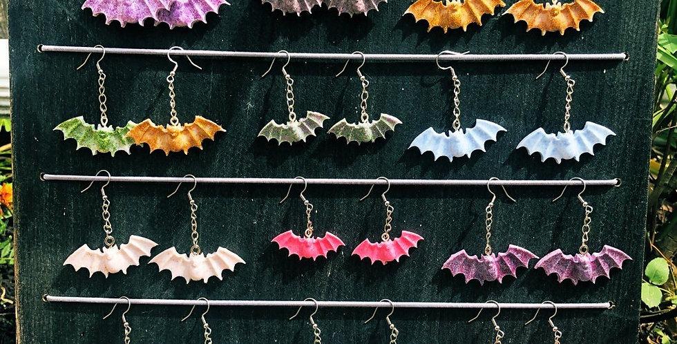 resin glitter spooky bat earrings