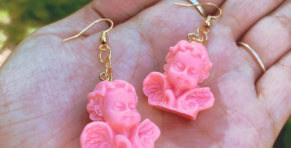 pink cherub earrings