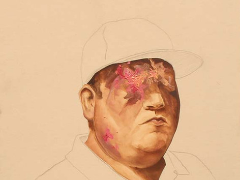 Did Carol teach you that beautiful mane? Ryan Hatfield Oil paint and pencil on canvas,  61cm x 45cm