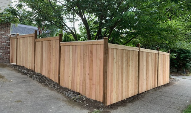 Stepped Cedar Fence
