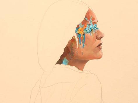 But wait until you see the palette. Ryan Hatfield Oil paint and pencil on canvas,  56cm x 45cm