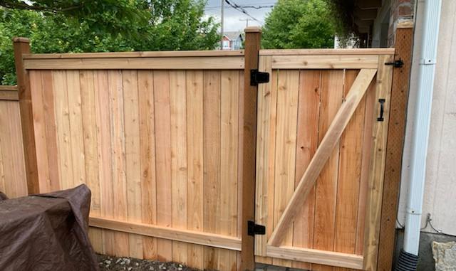 Stepped Cedar fence gate
