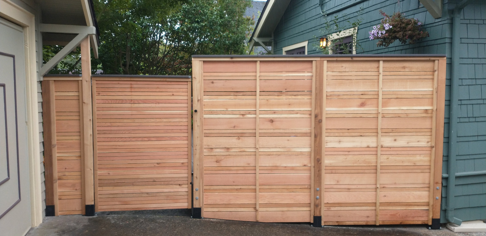 Alternating Cedar Slat Fence