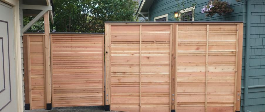 Alternating Cedar Slat Fence
