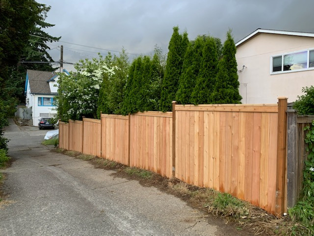 Stepped Cedar Fence