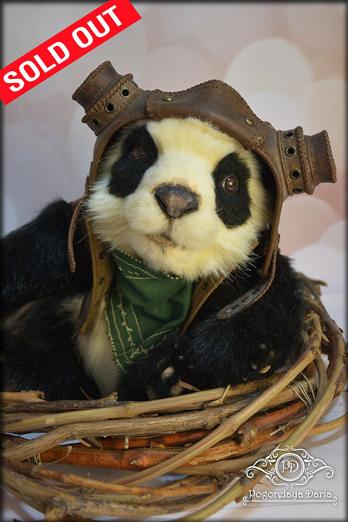 Panda, aviator, steampunk, animal, black and white, baby panda