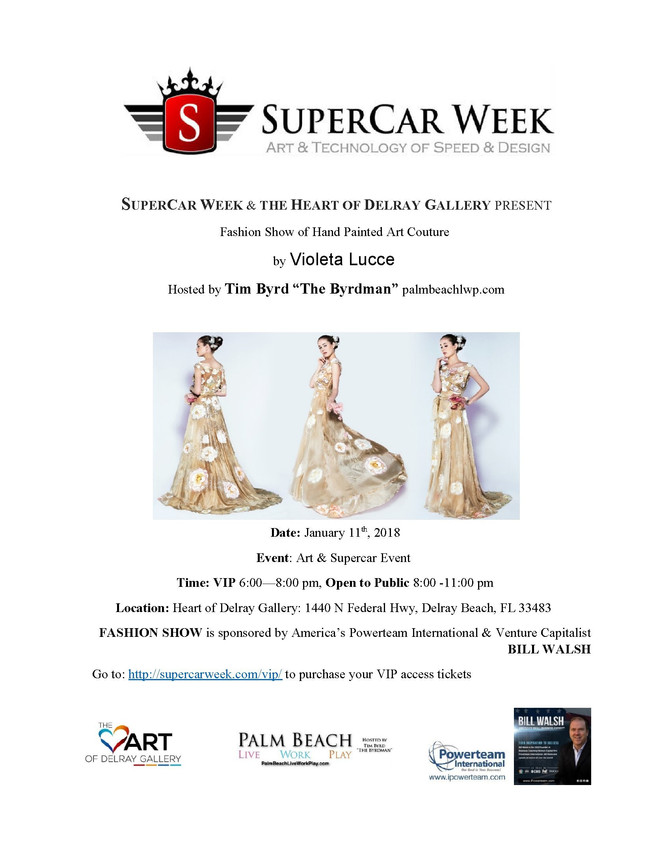 Violeta Lucce Fashion Show at the Heart of Delray Gallery for SuperCar Week