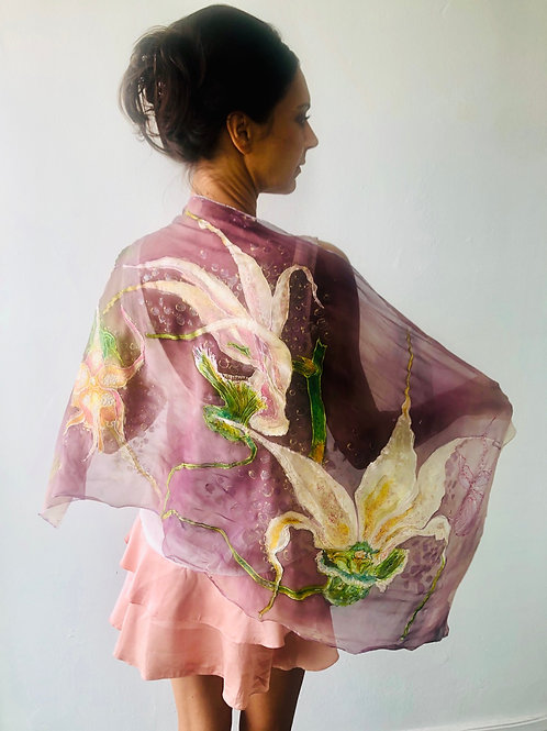 SILK SHAWL NIGHT'S ORCHID