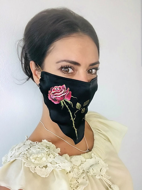 SINGLE ROSE SILK MASK