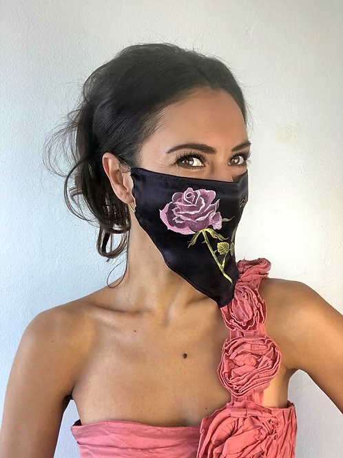 PINK ROSE SILK MASK WITH A CHAIN
