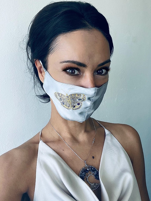 DOUBLE LAYER SILK MASK WITH BUTTERFLY