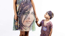 Mommy and a child hand-painted outfits by Violeta Lucce