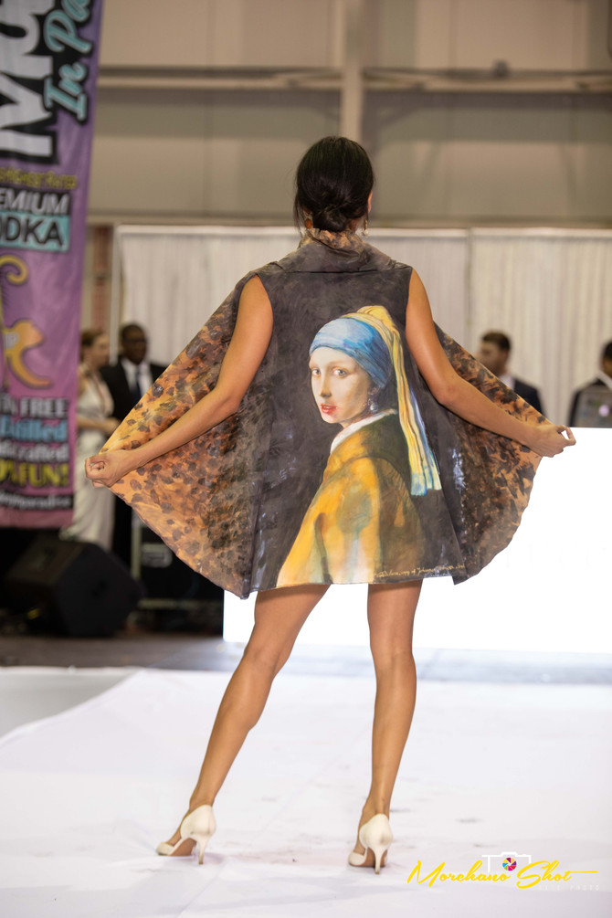 """Vermeer's """"Girl with a Pearl Earring"""" recreated and hand painted on silk by Violeta Lu"""