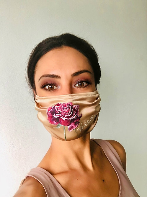 RED ROSE WITH SILVER WEDGES SILK MASK