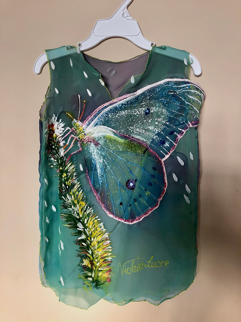 """""""Pure Joy"""" hand painted silk dress for your precious girl now available at our online store."""