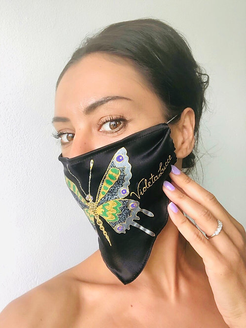Blue Gold Butterfly Silk Mask | Violetalucce
