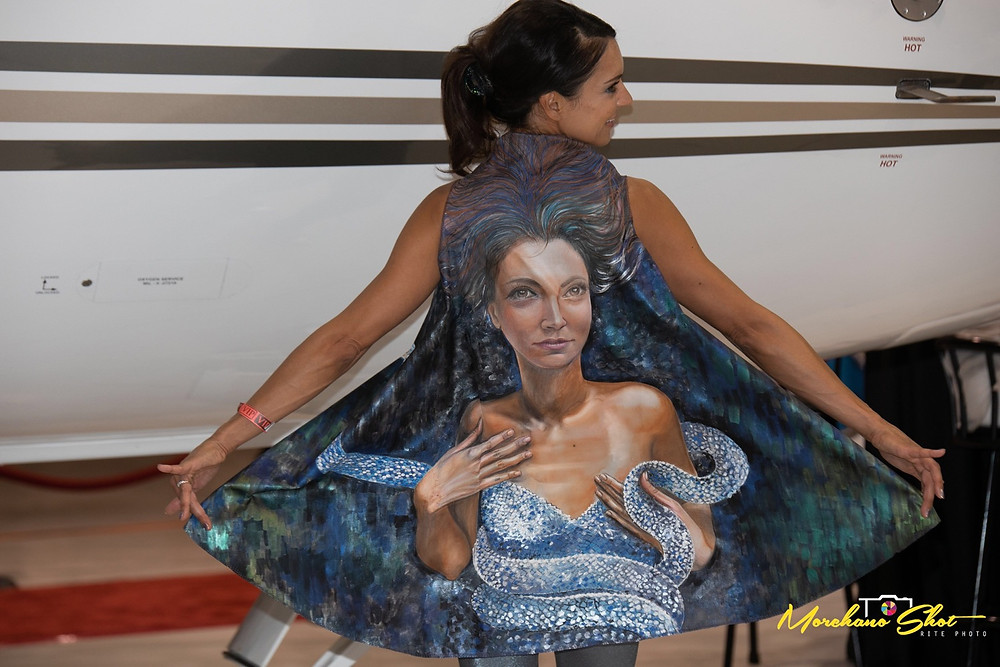 You can have your face hand painted on your art couture