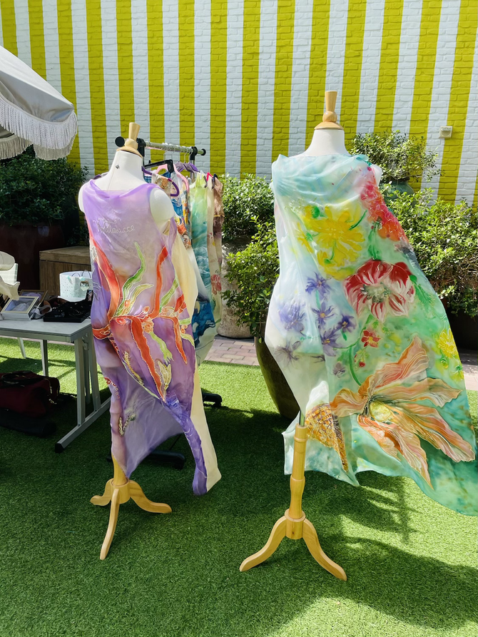 Beautiful hand-painted resort wear by Violeta Lucce presented at SLS.
