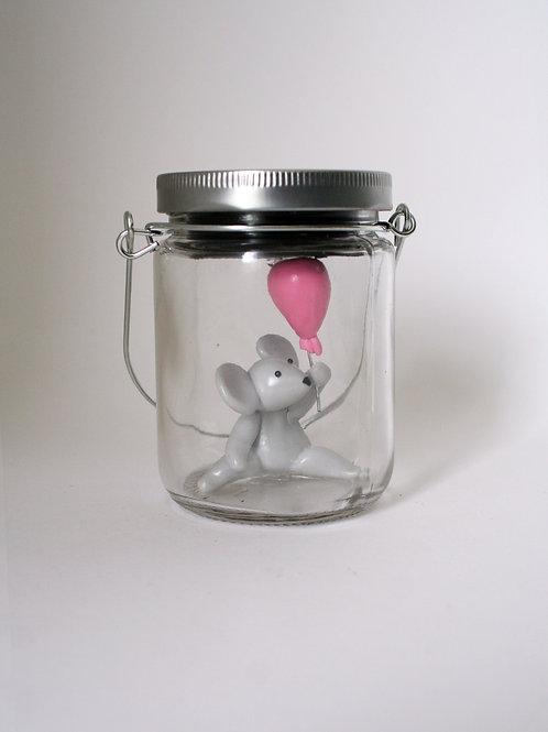 Veilleuse solaire petite souris grise et son ballon rose