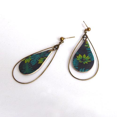 Boucles d'oreilles gouttes en bois, motif feuilles de palmier vert et bleu