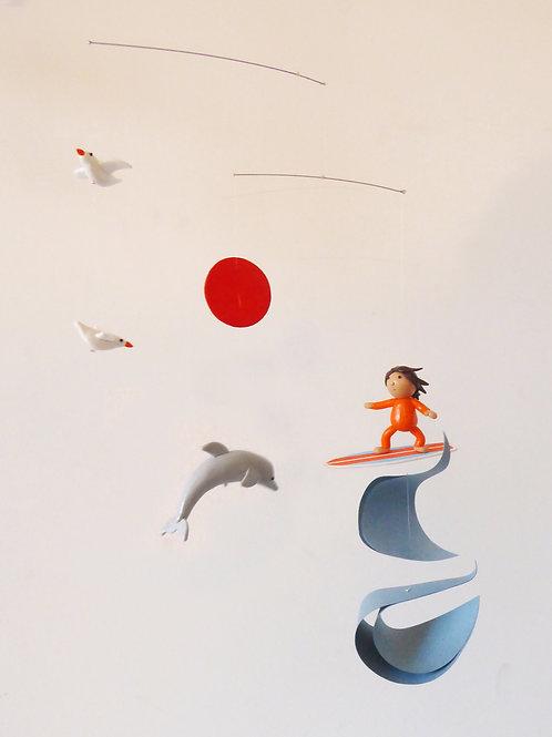 Mobile pour bébé | le Surfer et Dauphin  | version orange et bleu