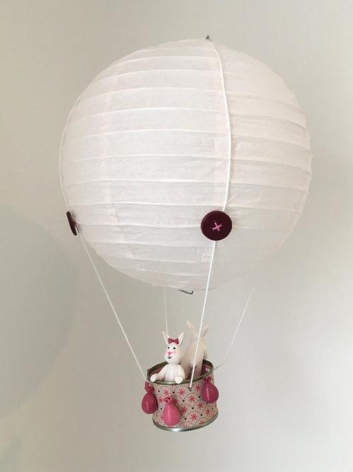 Montgolfière rose à suspendre