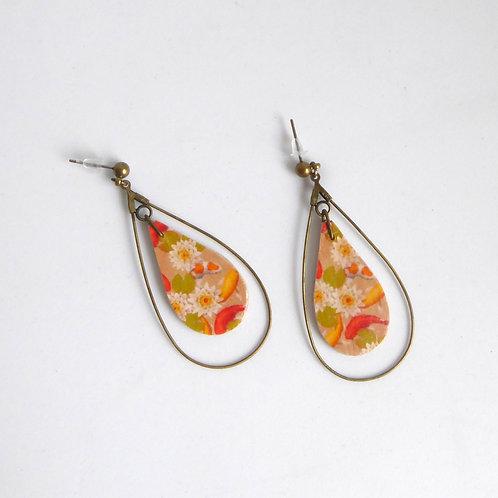Boucles d'oreilles gouttes en bois, motif japonais orange