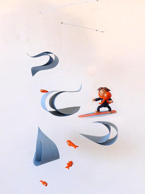 Mobile pour bébé | le Surfer et le Poulpe  | version orange et bleu