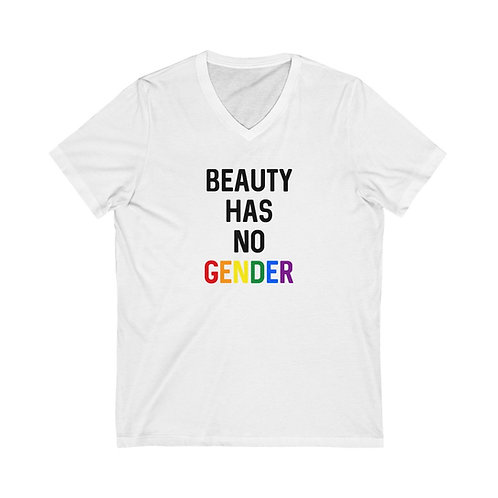 Beauty Has No Gender Jersey Short Sleeve V-Neck Tee