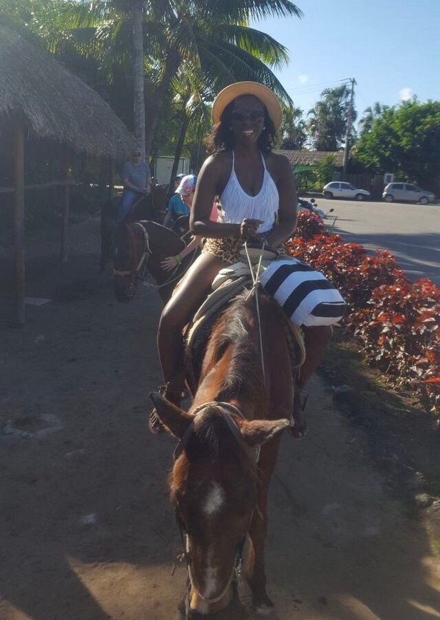 happy in Mexico horseback riding