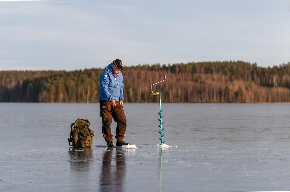 ice fishing on lake minocqua