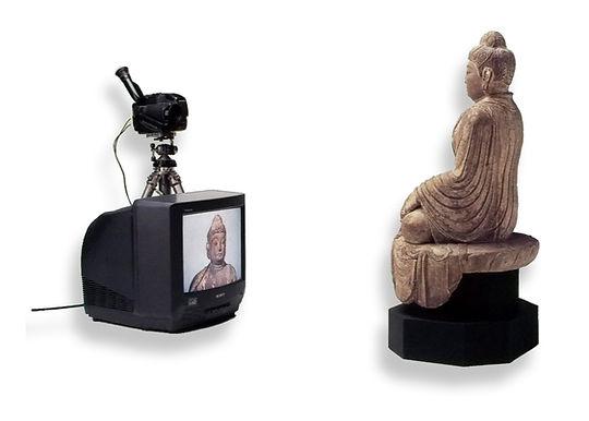 zen art, buddha watching himself on a TV