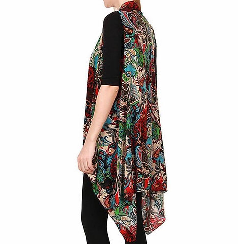 BK106 Black with multi-colored print vest