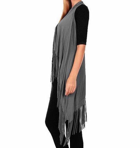 GY112 Jersey fringe vest- Grey