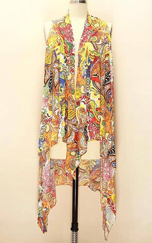 YW106 Yellow with multi-colored print vest