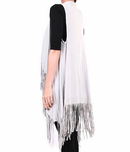 LG112 Jersey fringe vest- Light Grey