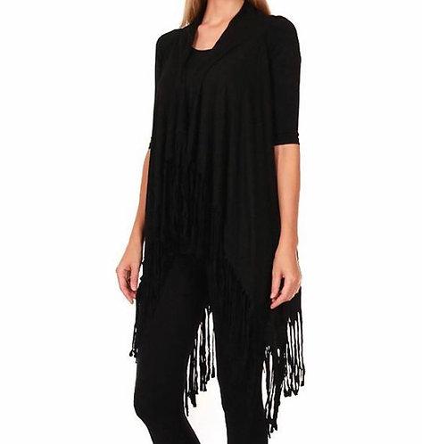 BK112 Jersey fringe vest- Black