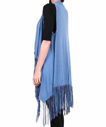 BL112 Jersey fringe vest- Blue