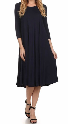 The Haley - Navy Swing Dress