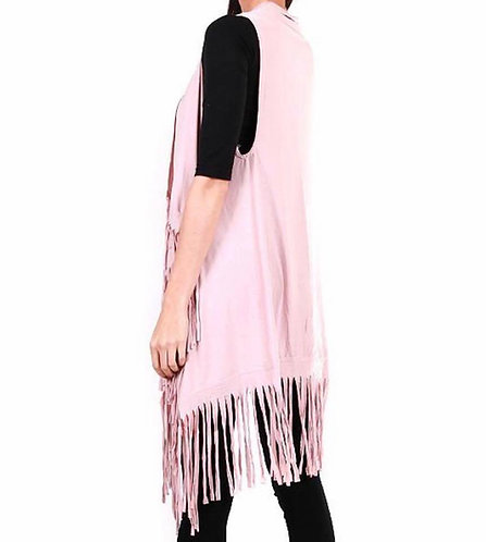 PK112 Jersey fringe vest-Pink